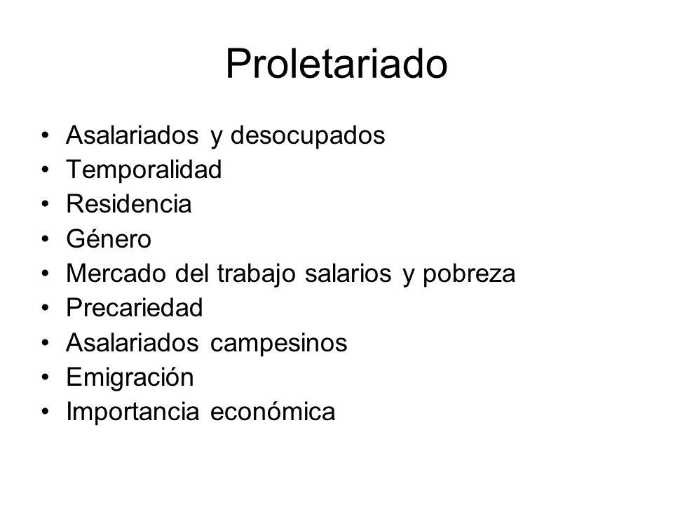 Proletariado Asalariados y desocupados Temporalidad Residencia Género Mercado del trabajo salarios y pobreza Precariedad Asalariados campesinos Emigra