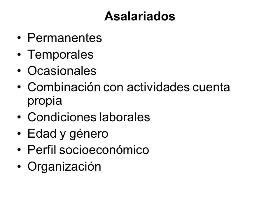 Asalariados Permanentes Temporales Ocasionales Combinación con actividades cuenta propia Condiciones laborales Edad y género Perfil socioeconómico Org