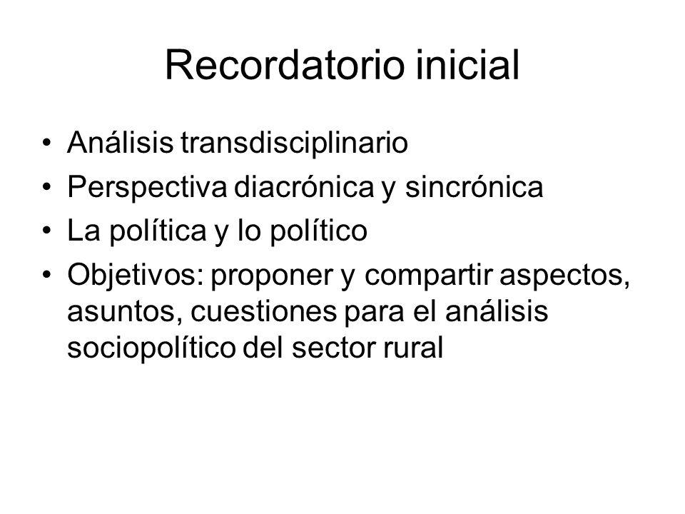 Recordatorio inicial Análisis transdisciplinario Perspectiva diacrónica y sincrónica La política y lo político Objetivos: proponer y compartir aspecto