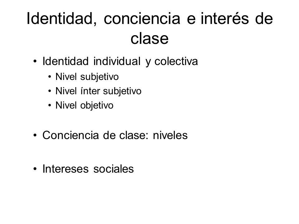 Identidad, conciencia e interés de clase Identidad individual y colectiva Nivel subjetivo Nivel ínter subjetivo Nivel objetivo Conciencia de clase: ni