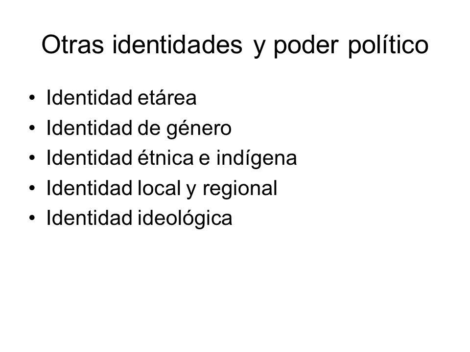 Otras identidades y poder político Identidad etárea Identidad de género Identidad étnica e indígena Identidad local y regional Identidad ideológica