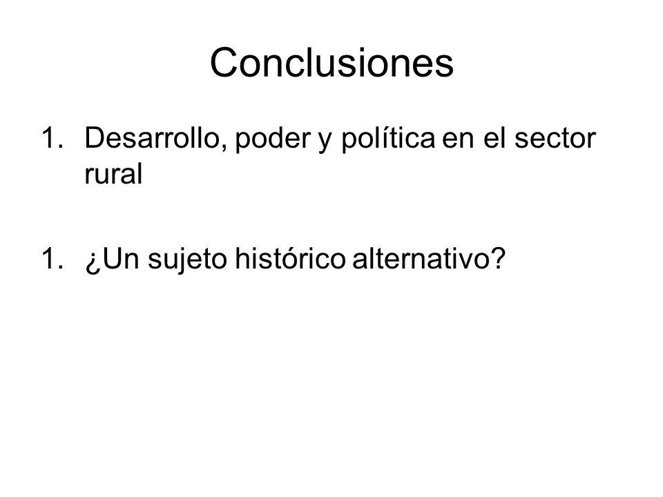 Conclusiones 1.Desarrollo, poder y política en el sector rural 1.¿Un sujeto histórico alternativo?