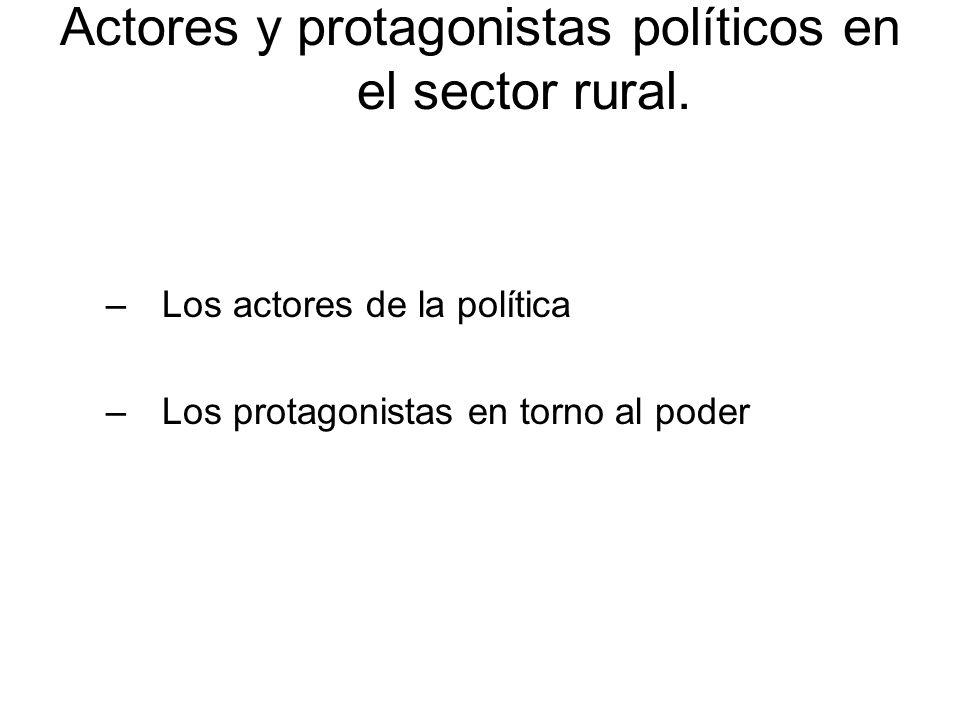 Actores y protagonistas políticos en el sector rural. –Los actores de la política –Los protagonistas en torno al poder