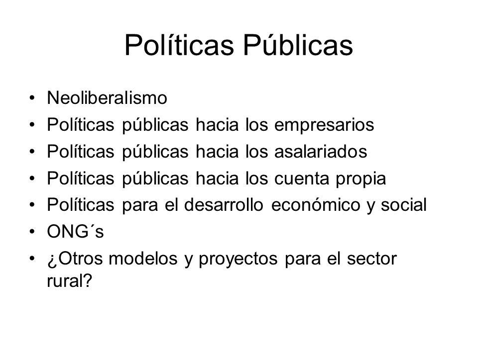 Políticas Públicas Neoliberalismo Políticas públicas hacia los empresarios Políticas públicas hacia los asalariados Políticas públicas hacia los cuent