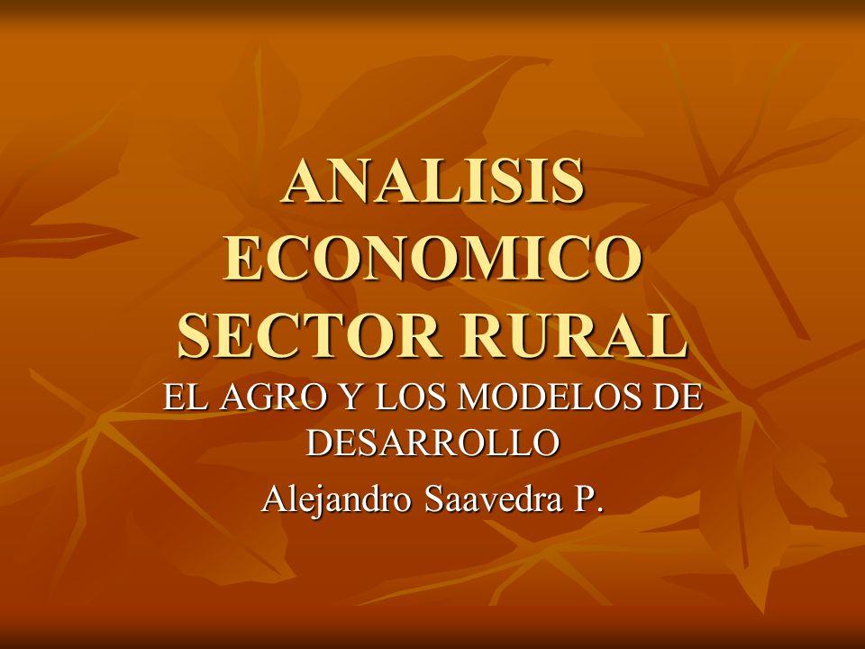 ANALISIS ECONOMICO SECTOR RURAL EL AGRO Y LOS MODELOS DE DESARROLLO Alejandro Saavedra P.