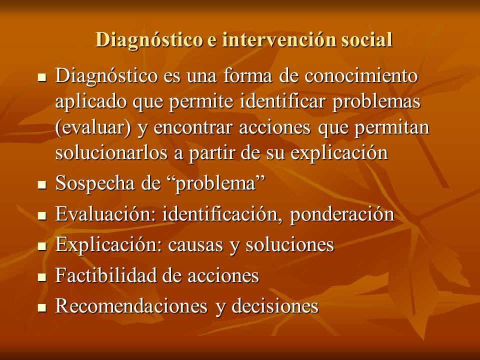 Diagnóstico e intervención social Diagnóstico es una forma de conocimiento aplicado que permite identificar problemas (evaluar) y encontrar acciones q