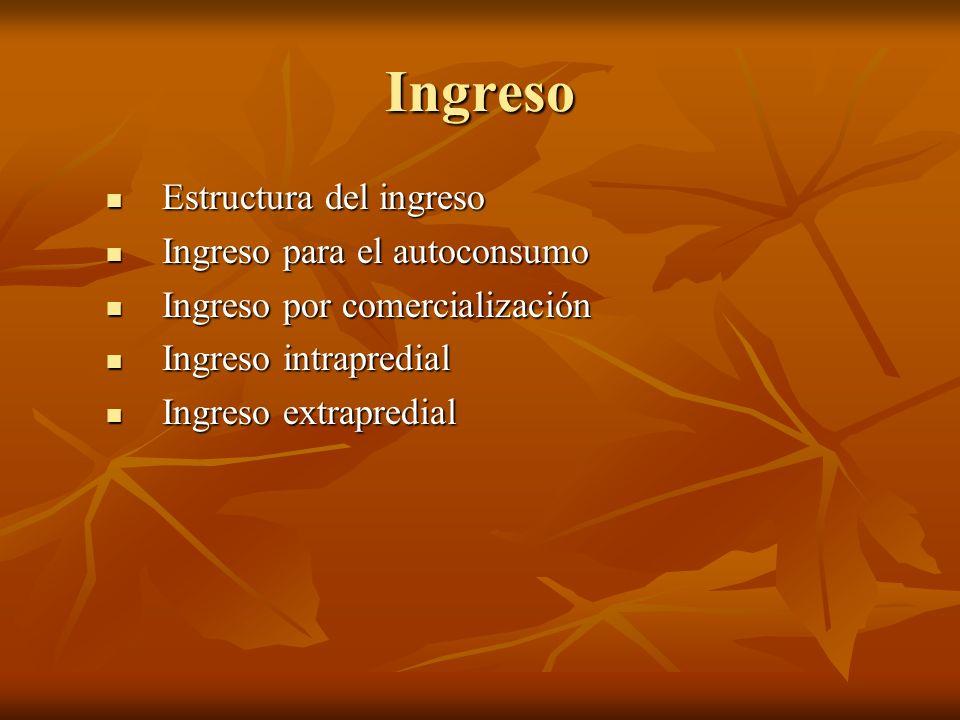 Ingreso Estructura del ingreso Estructura del ingreso Ingreso para el autoconsumo Ingreso para el autoconsumo Ingreso por comercialización Ingreso por