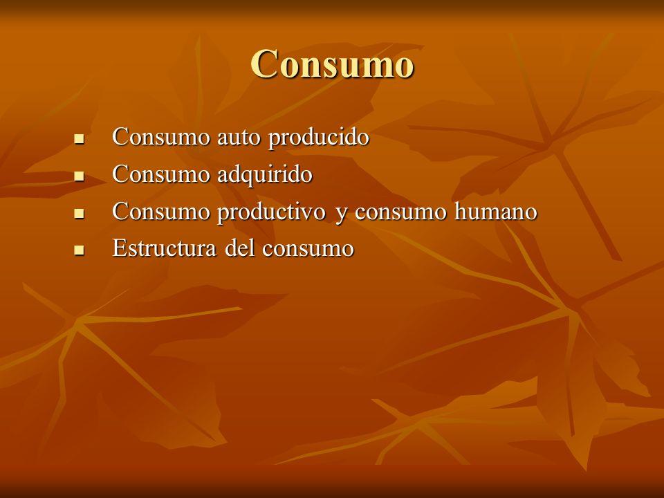Consumo Consumo auto producido Consumo auto producido Consumo adquirido Consumo adquirido Consumo productivo y consumo humano Consumo productivo y con