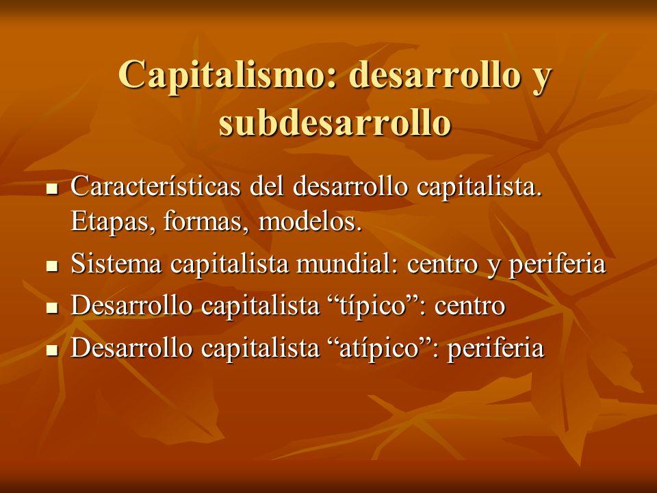 Capitalismo: desarrollo y subdesarrollo Características del desarrollo capitalista. Etapas, formas, modelos. Características del desarrollo capitalist