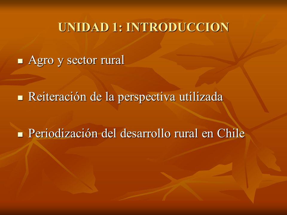 UNIDAD 1: INTRODUCCION Agro y sector rural Agro y sector rural Reiteración de la perspectiva utilizada Reiteración de la perspectiva utilizada Periodi