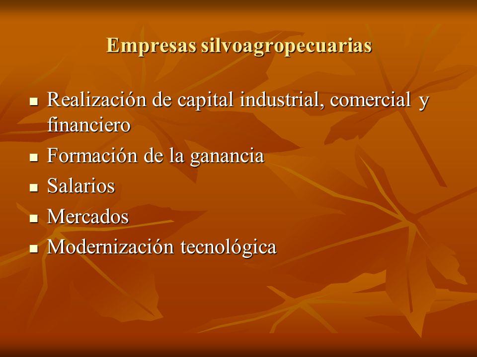 Empresas silvoagropecuarias Realización de capital industrial, comercial y financiero Realización de capital industrial, comercial y financiero Formac