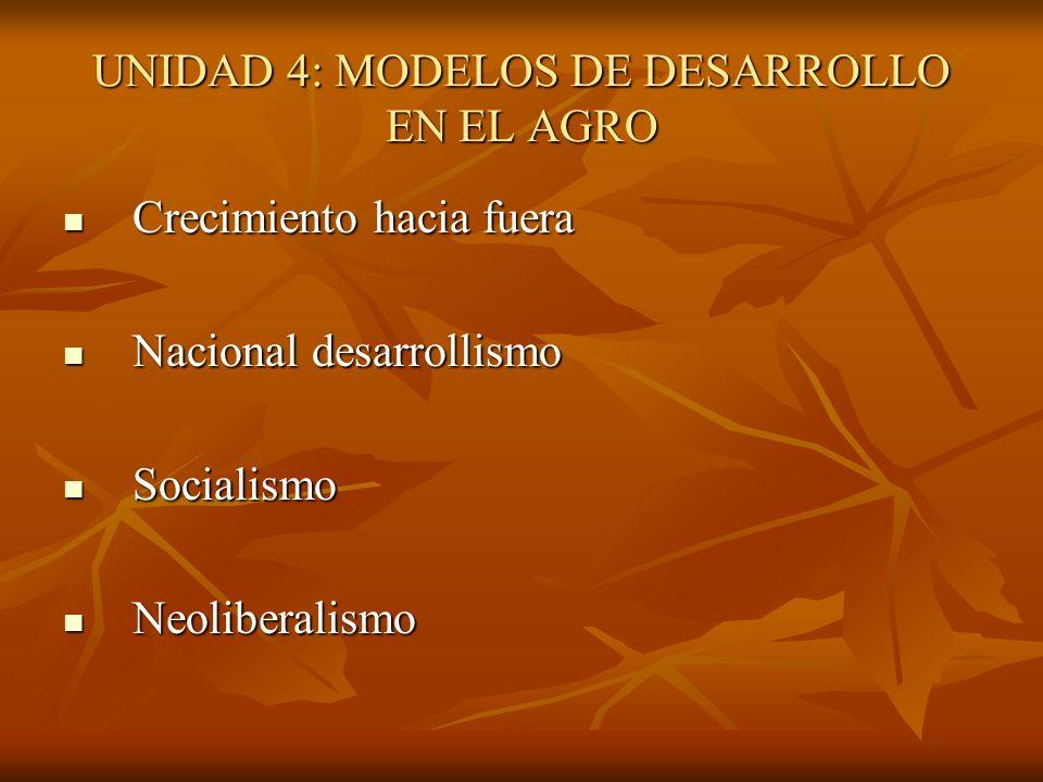 UNIDAD 4: MODELOS DE DESARROLLO EN EL AGRO Crecimiento hacia fuera Crecimiento hacia fuera Nacional desarrollismo Nacional desarrollismo Socialismo So