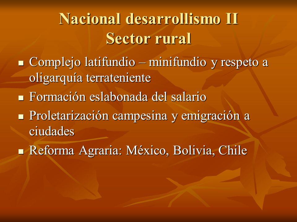 Nacional desarrollismo II Sector rural Complejo latifundio – minifundio y respeto a oligarquía terrateniente Complejo latifundio – minifundio y respet