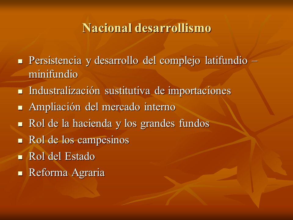 Nacional desarrollismo Persistencia y desarrollo del complejo latifundio – minifundio Persistencia y desarrollo del complejo latifundio – minifundio I