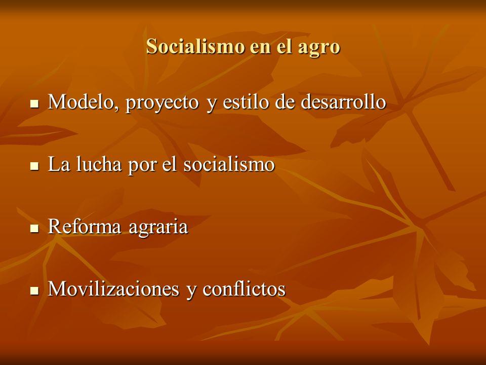 Socialismo en el agro Modelo, proyecto y estilo de desarrollo Modelo, proyecto y estilo de desarrollo La lucha por el socialismo La lucha por el socia