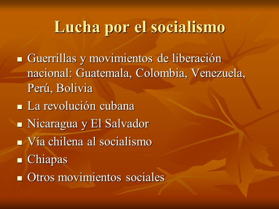 Lucha por el socialismo Guerrillas y movimientos de liberación nacional: Guatemala, Colombia, Venezuela, Perú, Bolivia Guerrillas y movimientos de lib