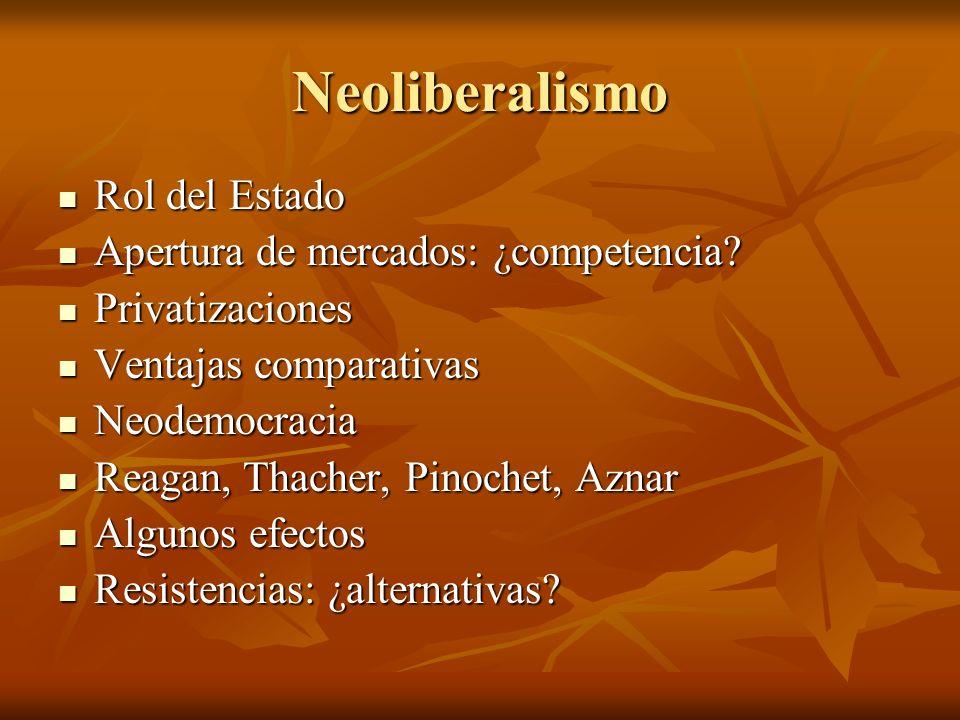 Neoliberalismo Rol del Estado Rol del Estado Apertura de mercados: ¿competencia? Apertura de mercados: ¿competencia? Privatizaciones Privatizaciones V