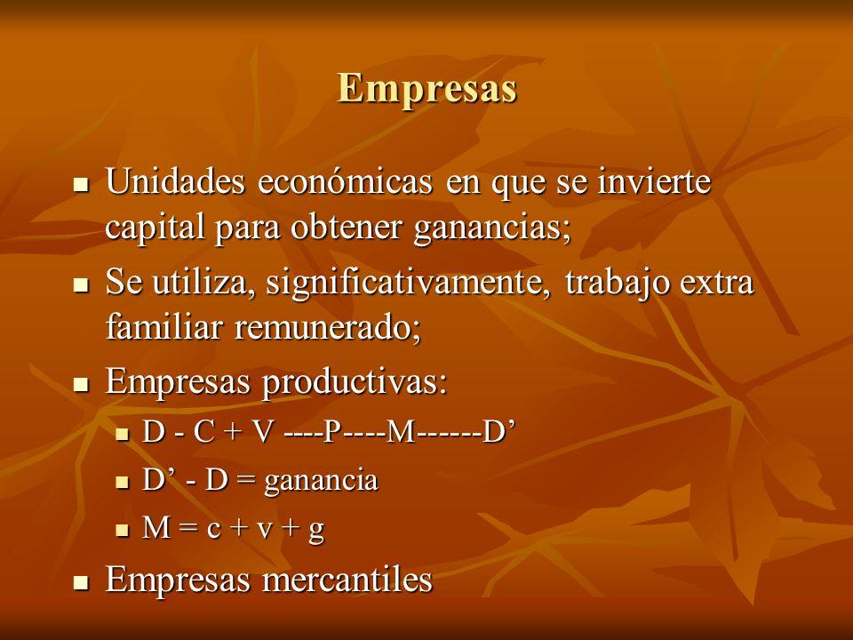 Empresas Unidades económicas en que se invierte capital para obtener ganancias; Unidades económicas en que se invierte capital para obtener ganancias;