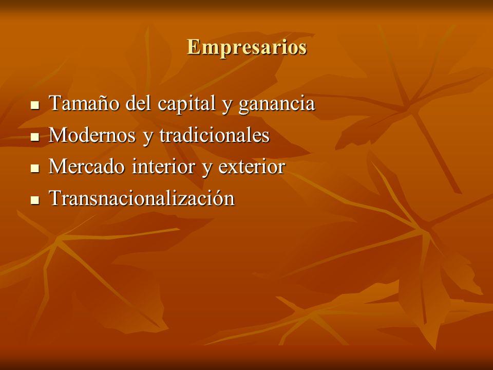 Empresarios Tamaño del capital y ganancia Tamaño del capital y ganancia Modernos y tradicionales Modernos y tradicionales Mercado interior y exterior