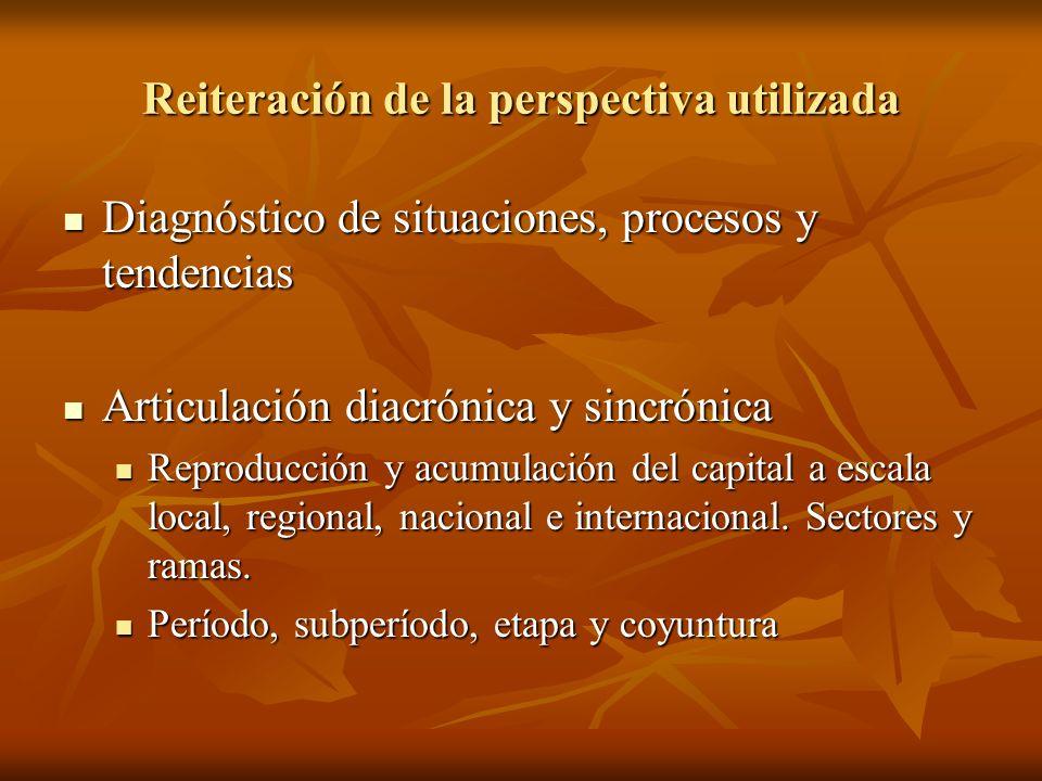 Reiteración de la perspectiva utilizada Diagnóstico de situaciones, procesos y tendencias Diagnóstico de situaciones, procesos y tendencias Articulaci