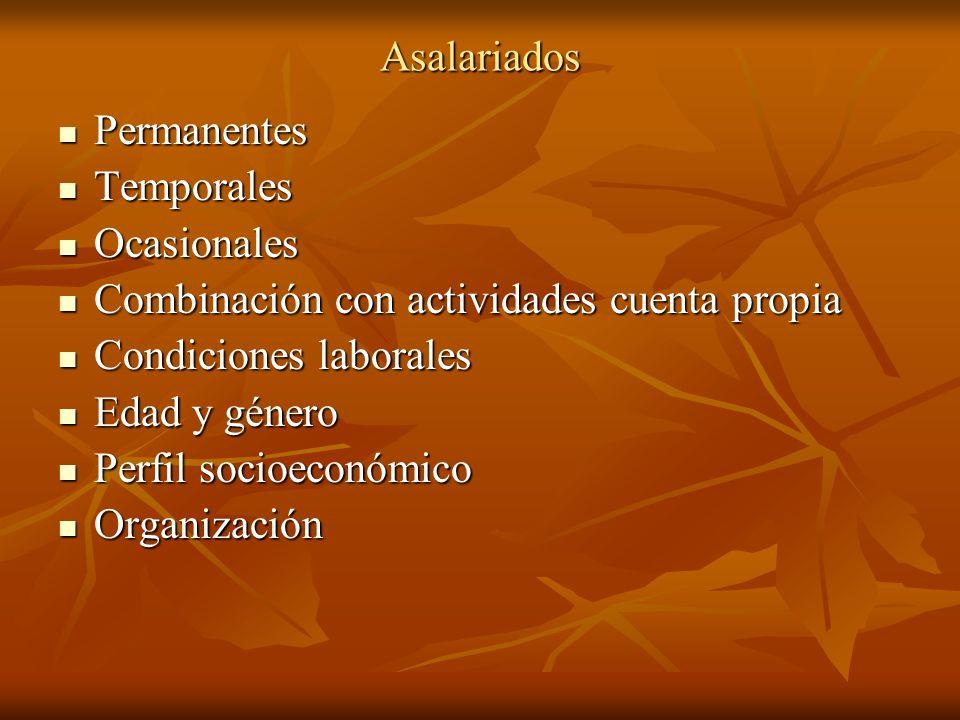 Asalariados Permanentes Permanentes Temporales Temporales Ocasionales Ocasionales Combinación con actividades cuenta propia Combinación con actividade