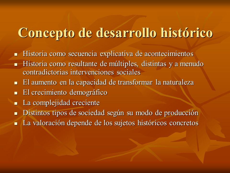 Concepto de desarrollo histórico Historia como secuencia explicativa de acontecimientos Historia como secuencia explicativa de acontecimientos Histori