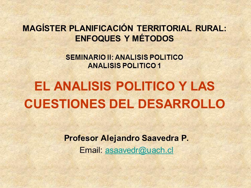 MAGÍSTER PLANIFICACIÓN TERRITORIAL RURAL: ENFOQUES Y MÉTODOS SEMINARIO II: ANALISIS POLITICO ANALISIS POLITICO 1 EL ANALISIS POLITICO Y LAS CUESTIONES