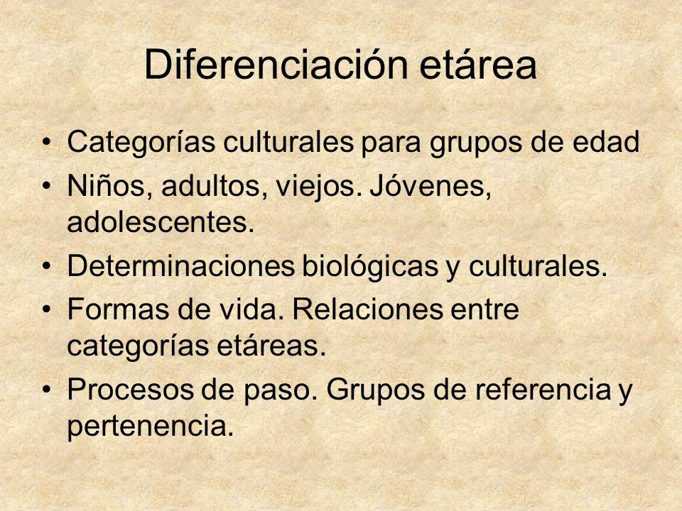 Diferenciación etárea Categorías culturales para grupos de edad Niños, adultos, viejos. Jóvenes, adolescentes. Determinaciones biológicas y culturales