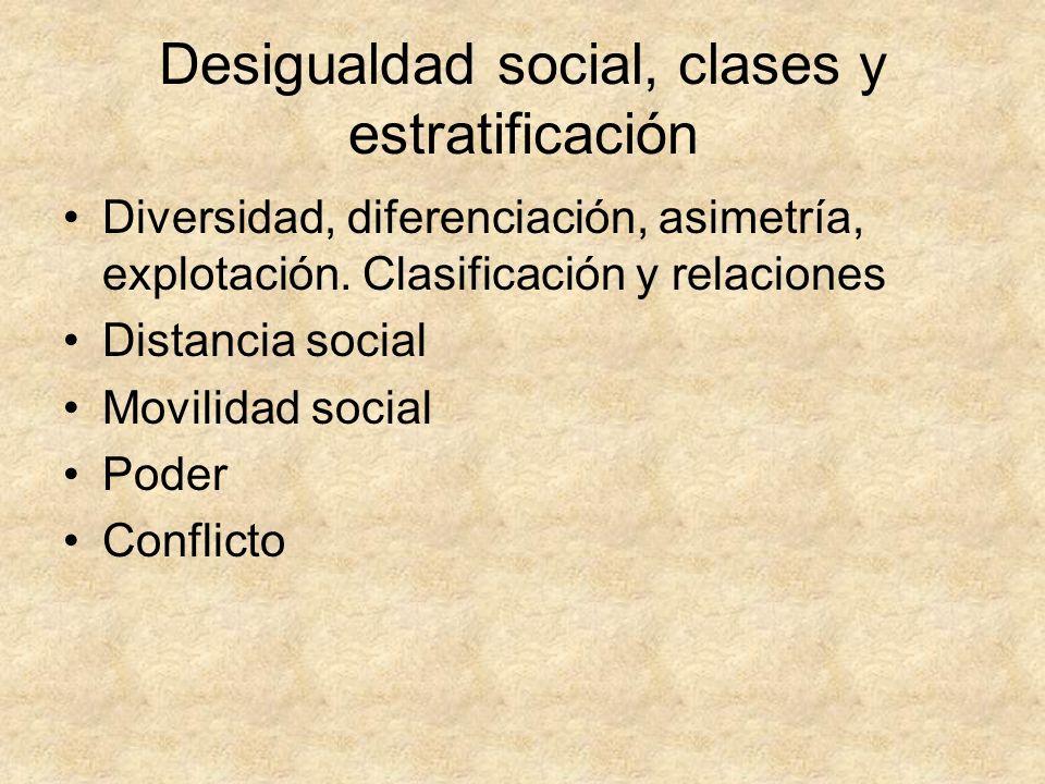 Desigualdad social, clases y estratificación Diversidad, diferenciación, asimetría, explotación. Clasificación y relaciones Distancia social Movilidad