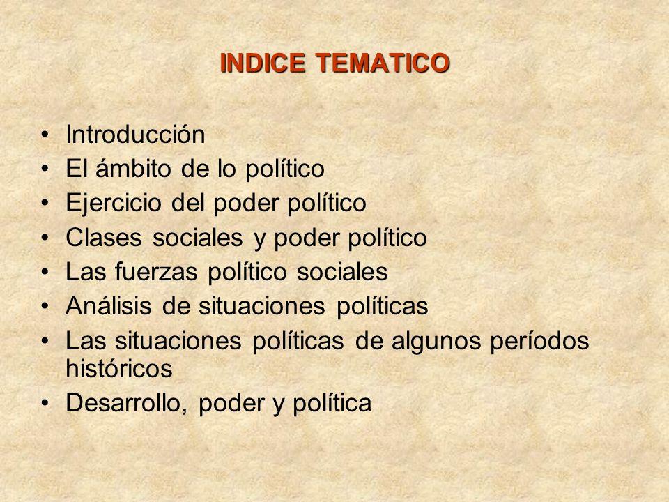 INDICE TEMATICO Introducción El ámbito de lo político Ejercicio del poder político Clases sociales y poder político Las fuerzas político sociales Anál