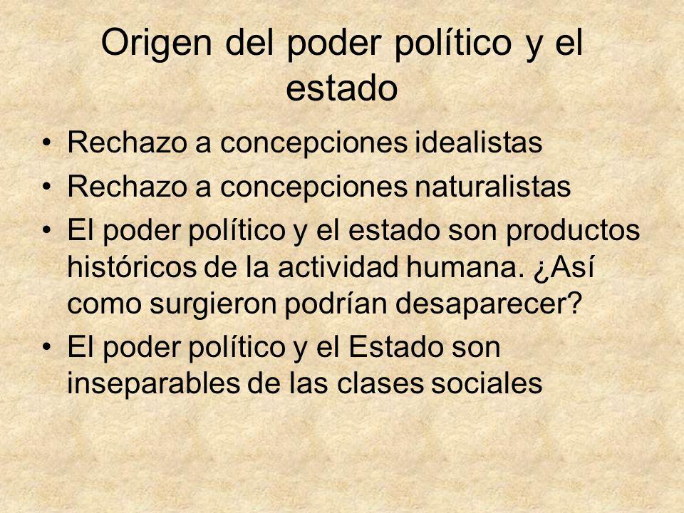 Origen del poder político y el estado Rechazo a concepciones idealistas Rechazo a concepciones naturalistas El poder político y el estado son producto