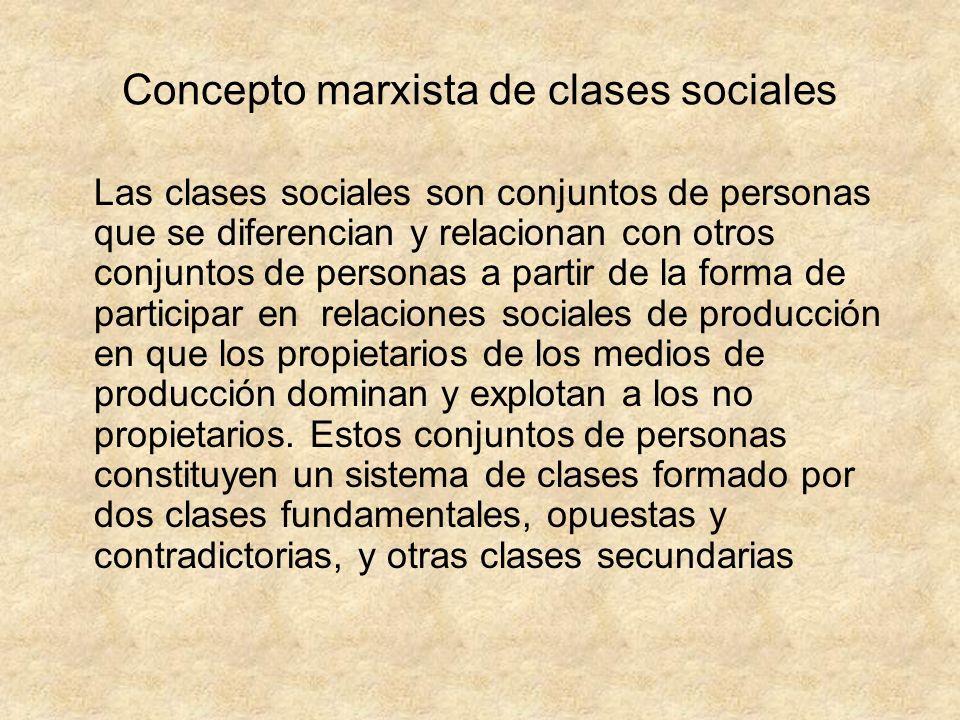 Concepto marxista de clases sociales Las clases sociales son conjuntos de personas que se diferencian y relacionan con otros conjuntos de personas a p