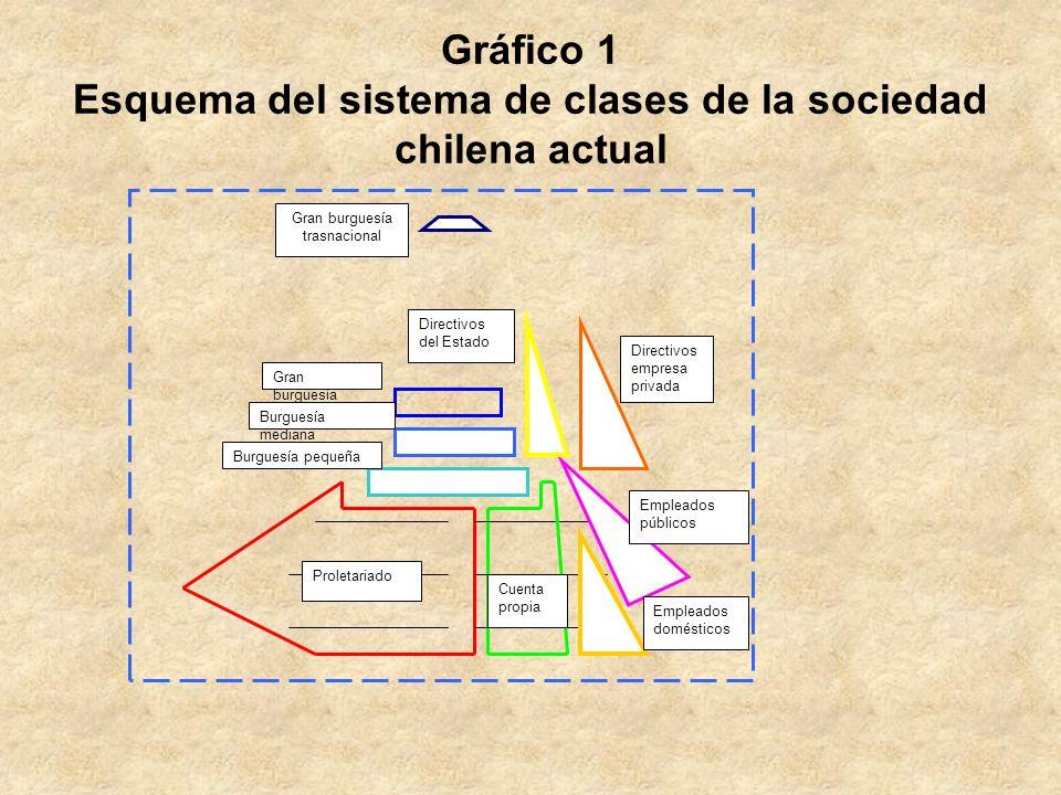 Gráfico 1 Esquema del sistema de clases de la sociedad chilena actual Proletariado Cuenta propia Gran burguesía trasnacional Burguesía pequeña Burgues
