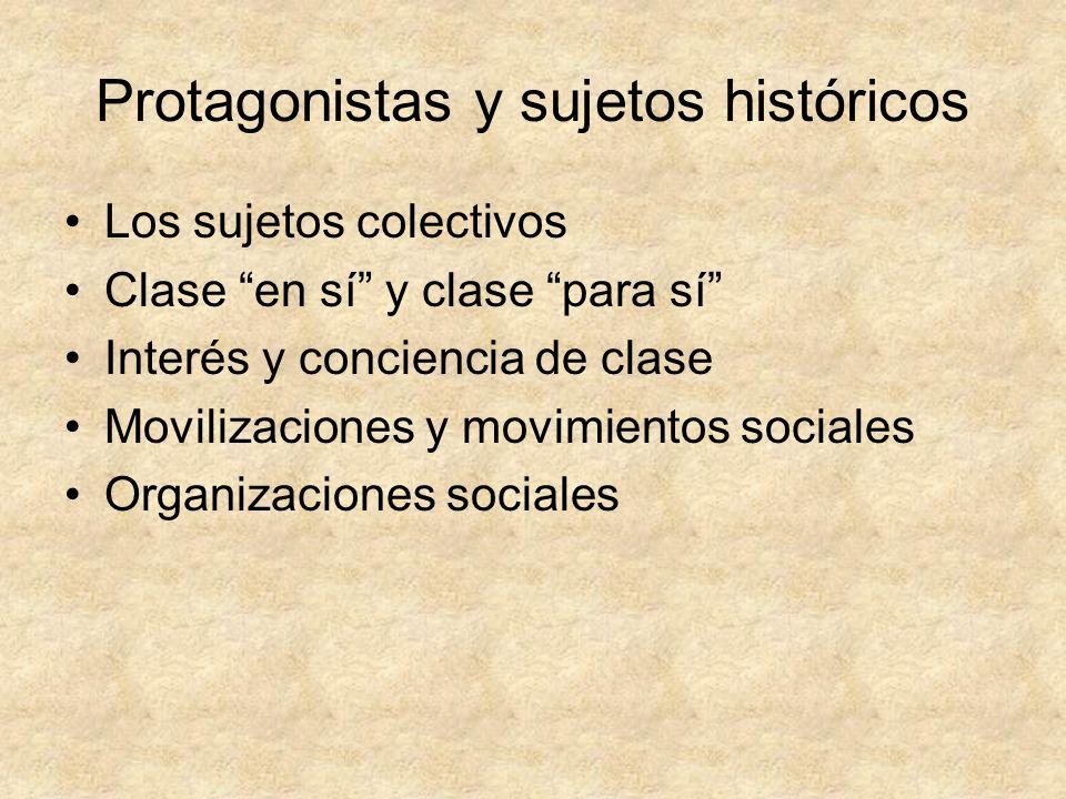 Protagonistas y sujetos históricos Los sujetos colectivos Clase en sí y clase para sí Interés y conciencia de clase Movilizaciones y movimientos socia