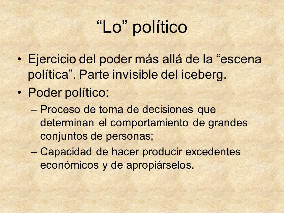 Lo político Ejercicio del poder más allá de la escena política. Parte invisible del iceberg. Poder político: –Proceso de toma de decisiones que determ