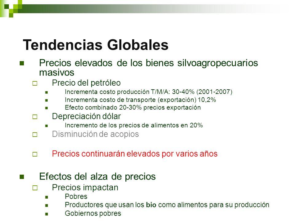 Precios elevados de los bienes silvoagropecuarios masivos Precio del petróleo Incrementa costo producción T/M/A: 30-40% (2001-2007) Incrementa costo de transporte (exportación) 10,2% Efecto combinado 20-30% precios exportación Depreciación dólar Incremento de los precios de alimentos en 20% Disminución de acopios Precios continuarán elevados por varios años Efectos del alza de precios Precios impactan Pobres Productores que usan los bio como alimentos para su producción Gobiernos pobres Tendencias Globales