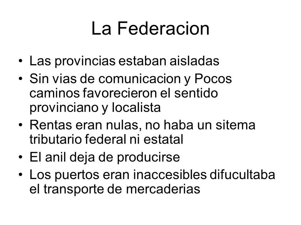La Federacion Las provincias estaban aisladas Sin vias de comunicacion y Pocos caminos favorecieron el sentido provinciano y localista Rentas eran nul