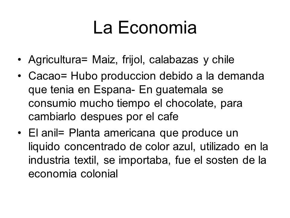 La Economia Agricultura= Maiz, frijol, calabazas y chile Cacao= Hubo produccion debido a la demanda que tenia en Espana- En guatemala se consumio much