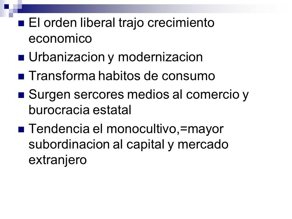 El orden liberal trajo crecimiento economico Urbanizacion y modernizacion Transforma habitos de consumo Surgen sercores medios al comercio y burocraci