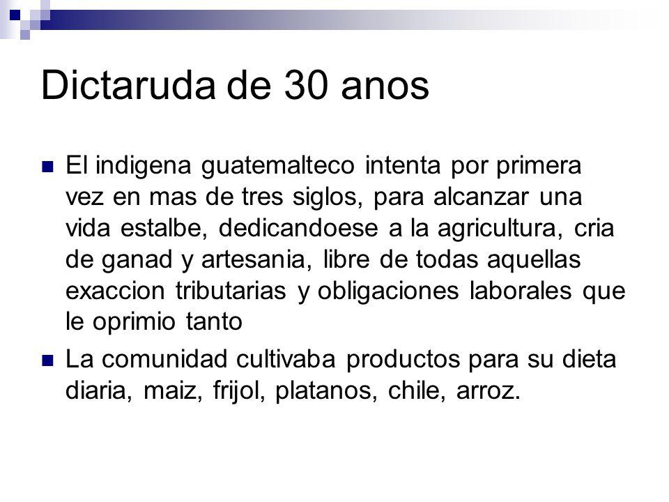 Dictaruda de 30 anos El indigena guatemalteco intenta por primera vez en mas de tres siglos, para alcanzar una vida estalbe, dedicandoese a la agricul