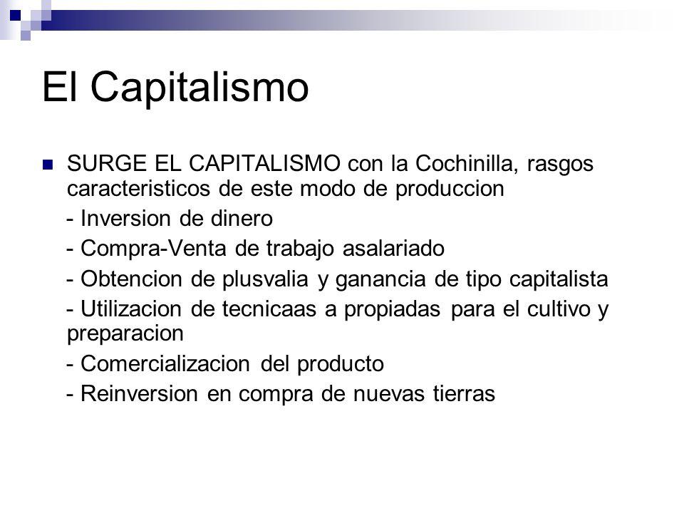 El Capitalismo SURGE EL CAPITALISMO con la Cochinilla, rasgos caracteristicos de este modo de produccion - Inversion de dinero - Compra-Venta de traba