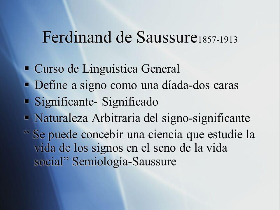 Ferdinand de Saussure 1857-1913 Curso de Linguística General Define a signo como una díada-dos caras Significante- Significado Naturaleza Arbitraria d