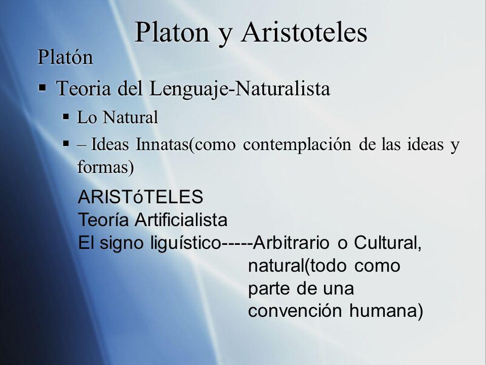 Platon y Aristoteles Platón Teoria del Lenguaje-Naturalista Lo Natural – Ideas Innatas(como contemplación de las ideas y formas) Platón Teoria del Len