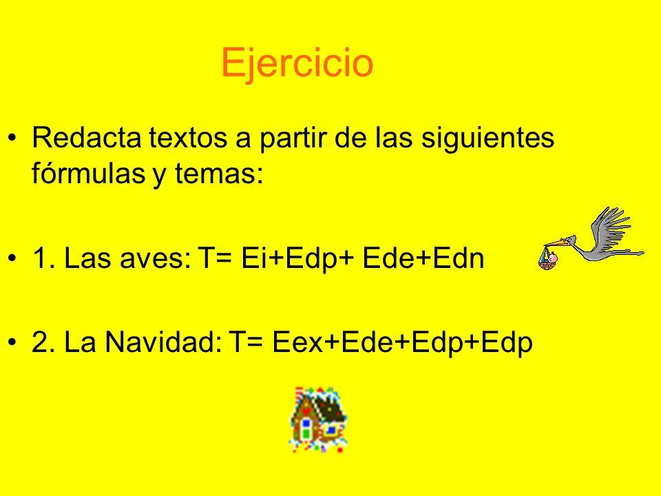 Ejercicio Redacta textos a partir de las siguientes fórmulas y temas: 1. Las aves: T= Ei+Edp+ Ede+Edn 2. La Navidad: T= Eex+Ede+Edp+Edp