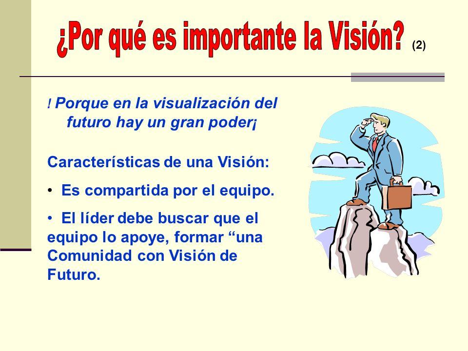 ATENCIÓN POR MEDIO DE LA VISIÓN (1) Creación de un enfoque, el desarrollo de una agenda y preocupación por los resultados La visión debe ser pública,