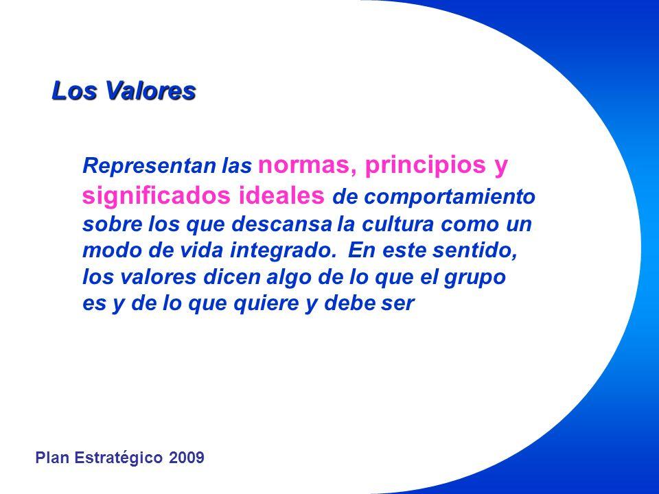 Plan Estratégico 2009 Los Valores Representan las normas, principios y significados ideales de comportamiento sobre los que descansa la cultura como un modo de vida integrado.