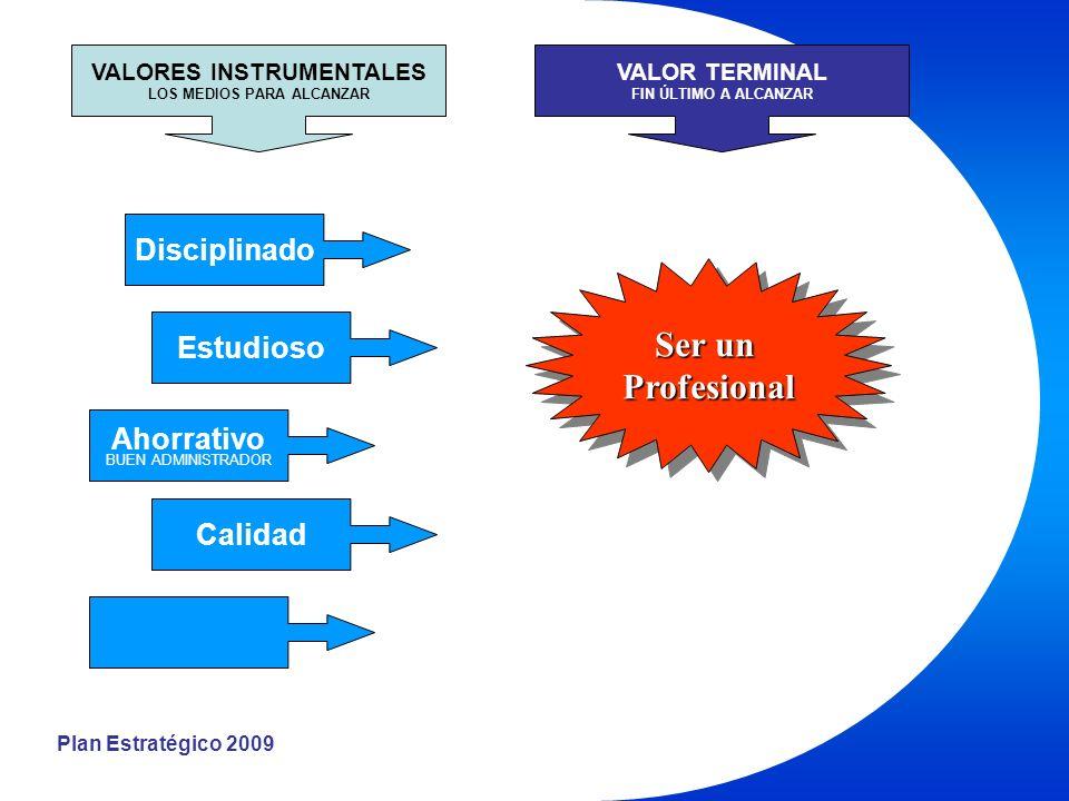 Plan Estratégico 2009 Disciplinado Estudioso Ahorrativo BUEN ADMINISTRADOR Calidad VALORES INSTRUMENTALES LOS MEDIOS PARA ALCANZAR VALOR TERMINAL FIN ÚLTIMO A ALCANZAR Ser un Profesional Profesional
