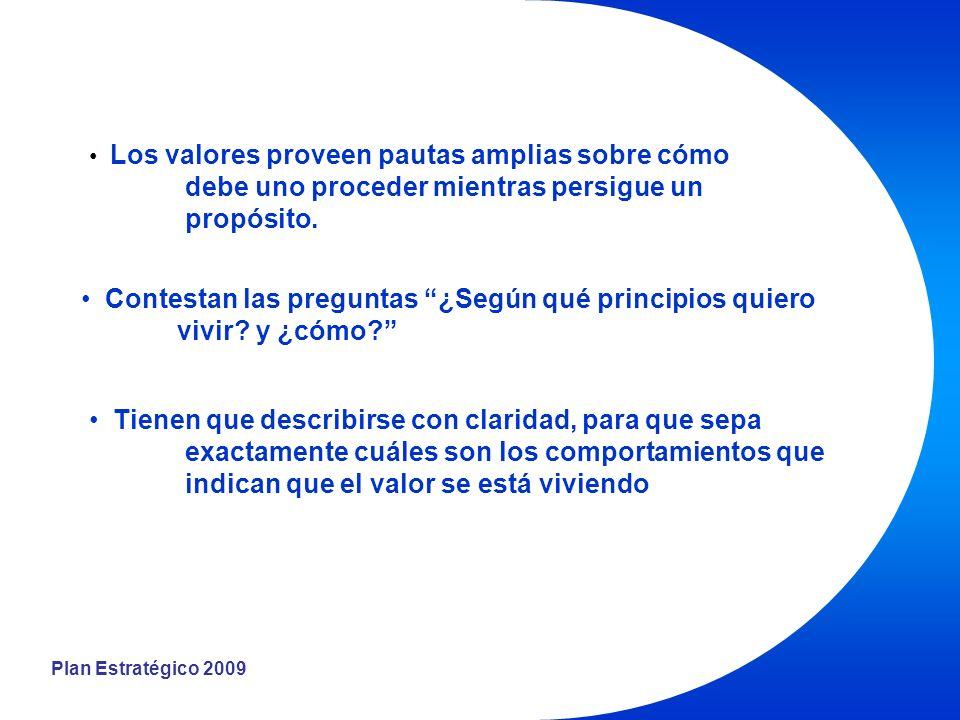 Plan Estratégico 2009 Los valores proveen pautas amplias sobre cómo debe uno proceder mientras persigue un propósito.