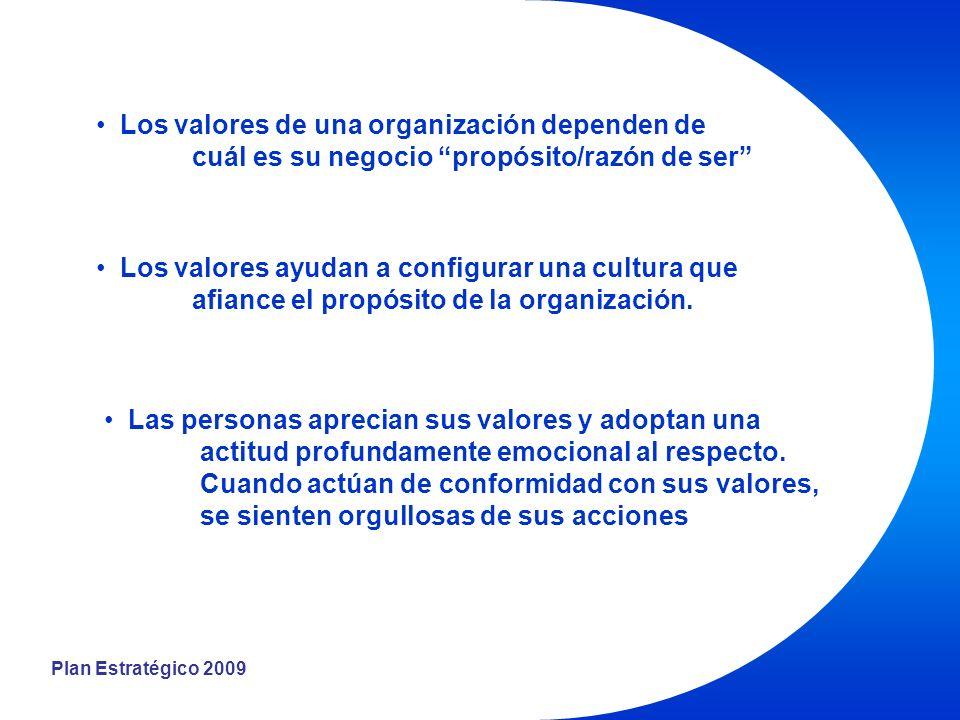 Plan Estratégico 2009 Los valores de una organización dependen de cuál es su negocio propósito/razón de ser Los valores ayudan a configurar una cultura que afiance el propósito de la organización.