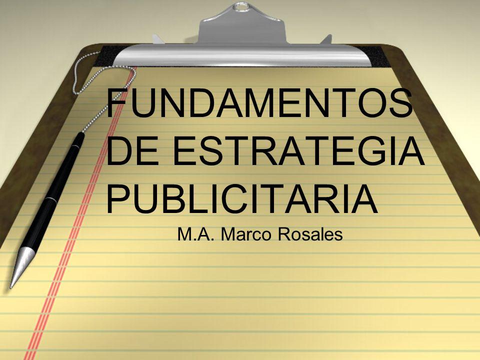 FUNDAMENTOS DE ESTRATEGIA PUBLICITARIA M.A. Marco Rosales